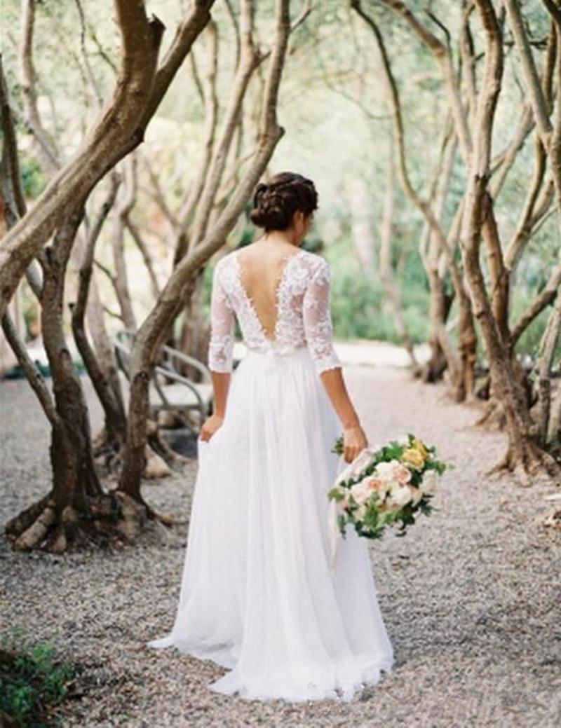 W001 New Chiffon Robe de Mariage Manicotto a tre quarti A Line Abiti da sposa Sheer Abiti da sposa Low Back Modern Hot Sale Fashion