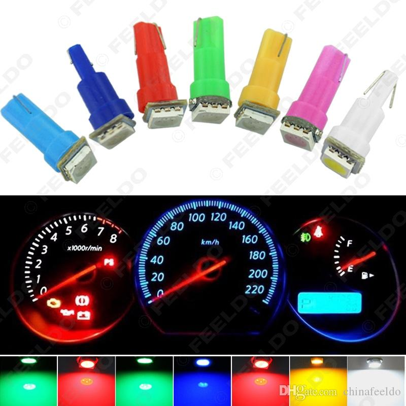 50pcs 12V CC Auto T5 74 2721 5050 1-LED base de la cuña Dashboards bombillas LED luces del coche Gauge 7-Colour # 1259