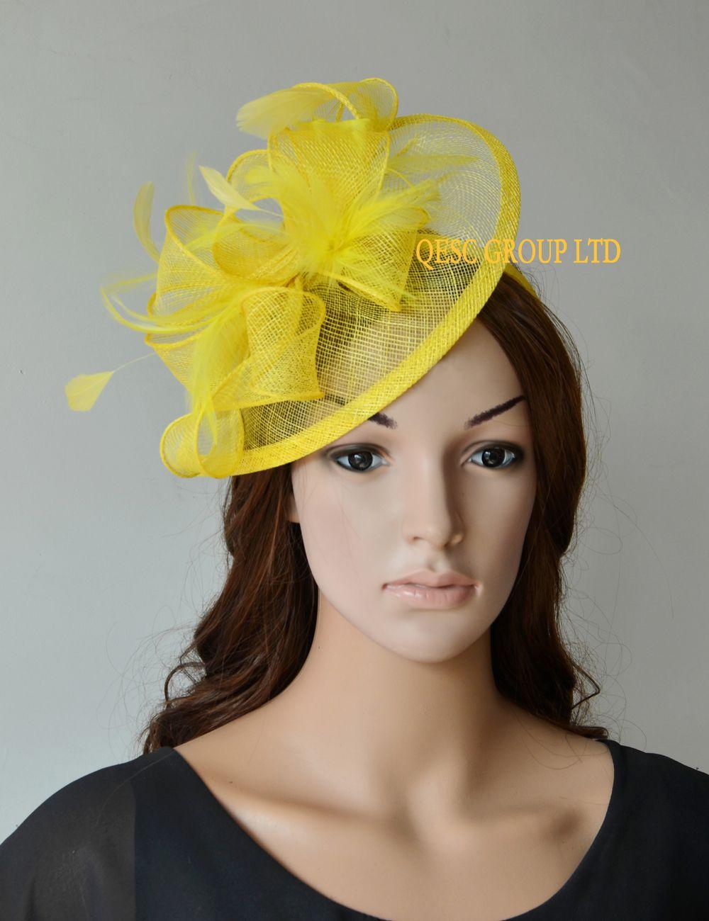 노란색 신부 매혹적인 sinamay 깃털 매혹적인 모자 헤어 액세서리 켄터키 더비, 결혼식, 교회, 파티.