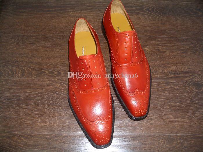 남성 정장 남성 신발 옥스포드 신발 신발 맞춤 수제 신발 정품 송아지 가죽 색상 오렌지 레이스 업 신발 HD-065