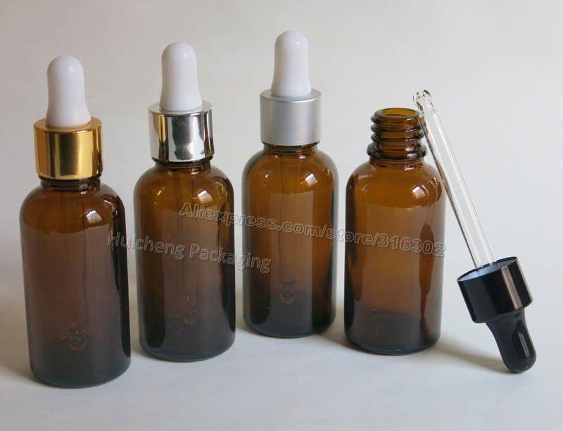 200 x 30 ml Amber Boston runde Glasflasche mit ätherischem Öl Mit Aluminiumdeckel Glas Tropfer Essenz leere Kosmetikbehälter