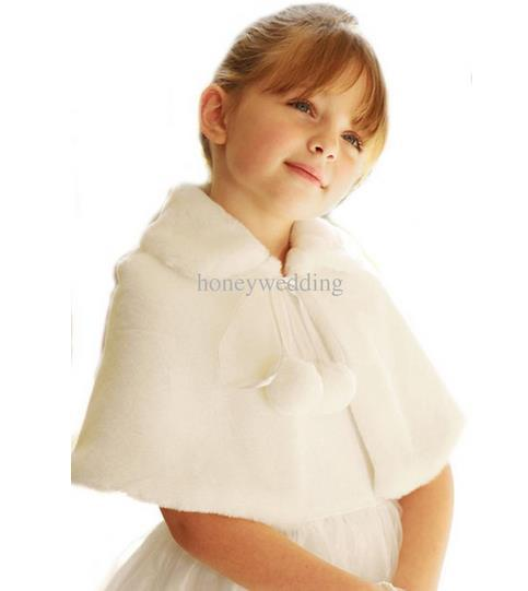 Ivory / White Flower Girls Wedding Party Wraps In Stock Cheap Faux Fur Fall Winter Capes / Shrugs / Shawls / Boleros Hot