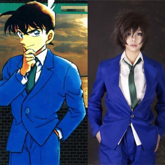 2016 New Man Anime Costumes Good Quality Blue School Uniform Japanese Cartoon Jimmy Kudo Cosplay