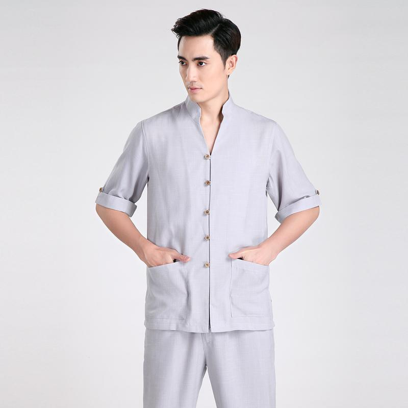 Free shipping Half Sleeve Tang suit Men Chinese Traditional clothing Kung Fu Shirt mandarin collar Chinese Shirt Linen Chinese Top 2 Color