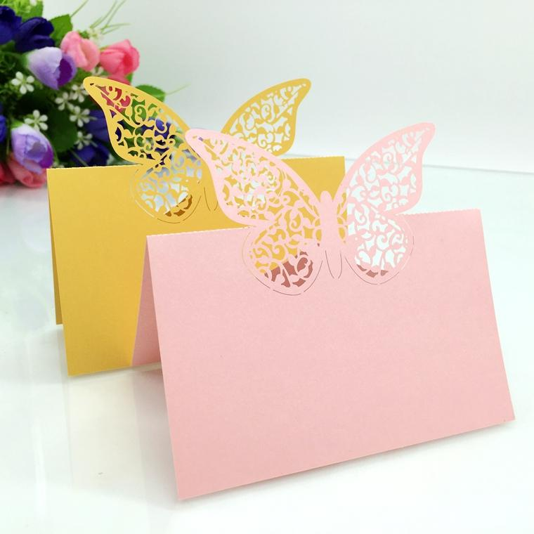 200pcs Laser Cut Hollow Butterfly Paper Table Card Number Name Place Card For Party Wedding Decorate Customization