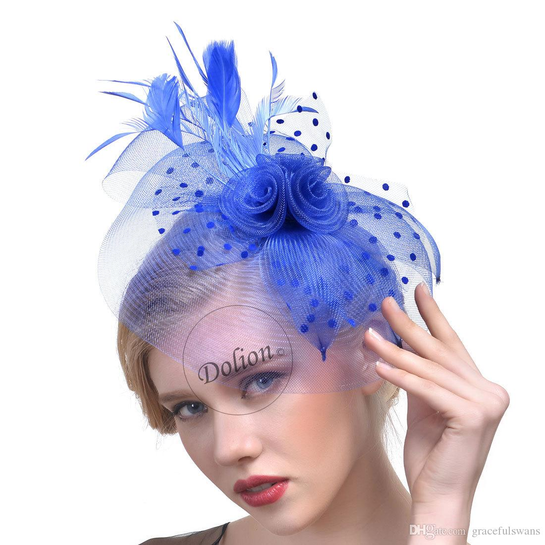 8 Colors Bridal Hats Feathers Elegant Hats for Women Handmade Flax Party Hair Accessories for Ladies