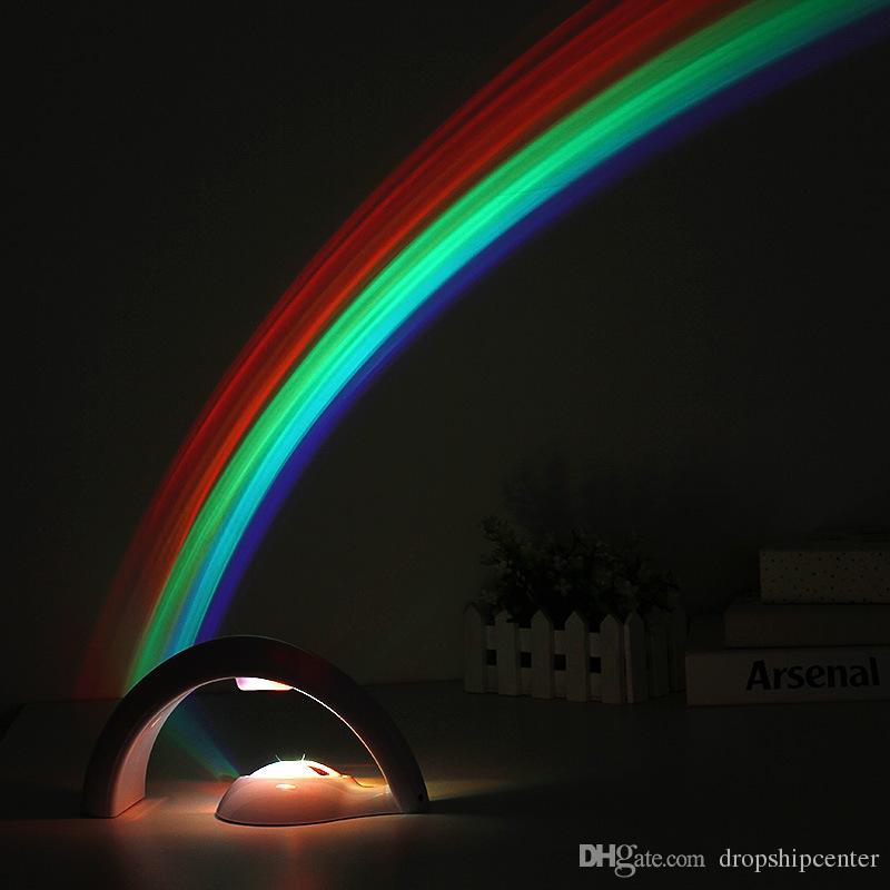 럭키 무지개 LED 조명 프로젝터 침실 조명 repline 모양 디자인 두 모드 부드러운 밝은 5 LED 라이트 ABS 소재 어린이 선물