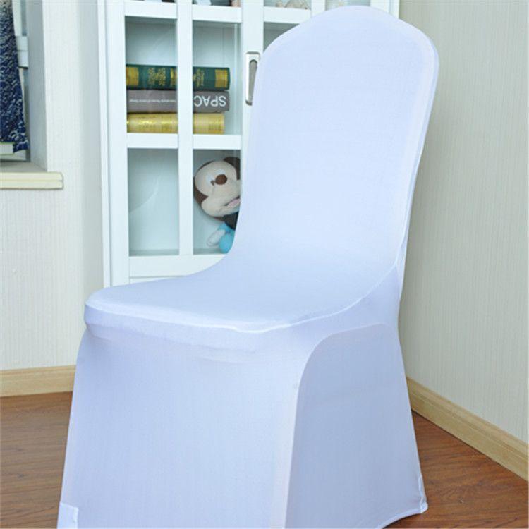 100 piezas cubiertas de la silla de la boda universal de poliéster blanco Spandex para bodas banquetes plegable decoración del hotel decoración caliente de la venta al por mayor de