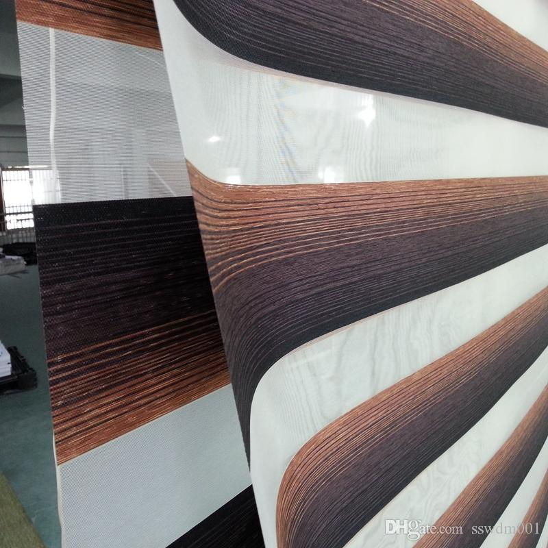 Custom Made Translucent Roller Zebra Blinds in Brown 100%Polyester Linen Window Curtains for Living Room 4 Colors