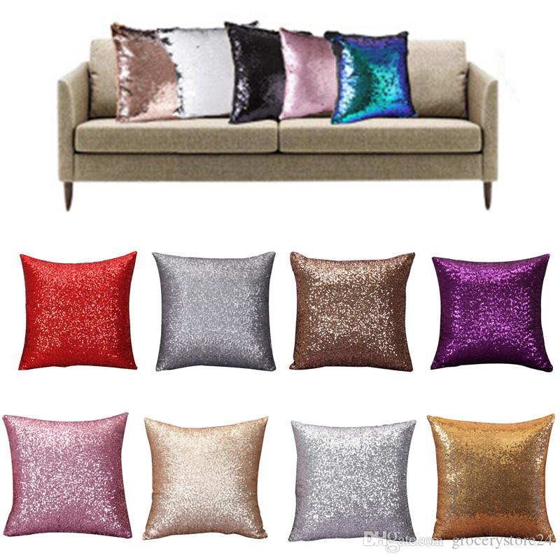 8 Renkler 40x40 Lüks Pullu Yastık Örtüsü Fermuar Yastık Kılıfı Ev Cafe Atmak Yastık Kılıfı 50 adet / grup