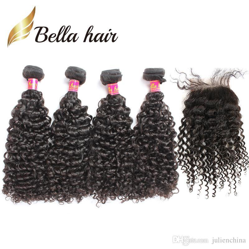 5pcs / mycket brasilianskt lockigt hår 4 buntar med stängning naturlig färg väv svart förlängningar bella hår
