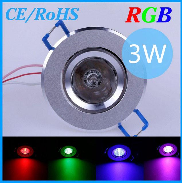 3 W RGB Teto Levou Holofotes de luz Recesso AC85 ~ 265 V CE RoHS Multi Cores Mudando com Remoto, frete grátis