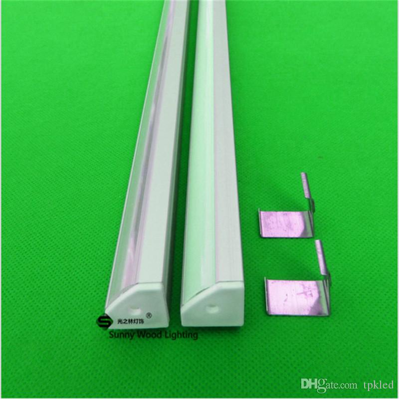 led şerit için ücretsiz nakliye 2m Üçgen alüminyum profil, bağlantı parçaları CC-19X19L ile 12mm pcb için / şeffaf kapak buzlu