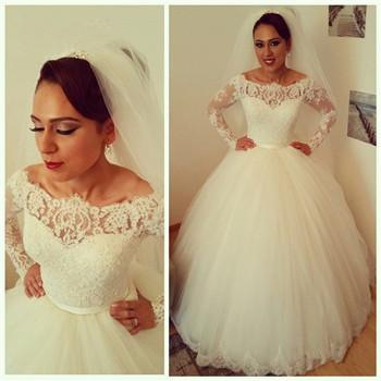 discount elegant princess floor length long sleeve wedding