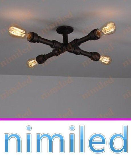 nimi812 4-Lights Creative Industrial Pipes Iron Vintage Retro Ceiling Lamps Loft Cafe Book Shelf Lighting Living Room Light