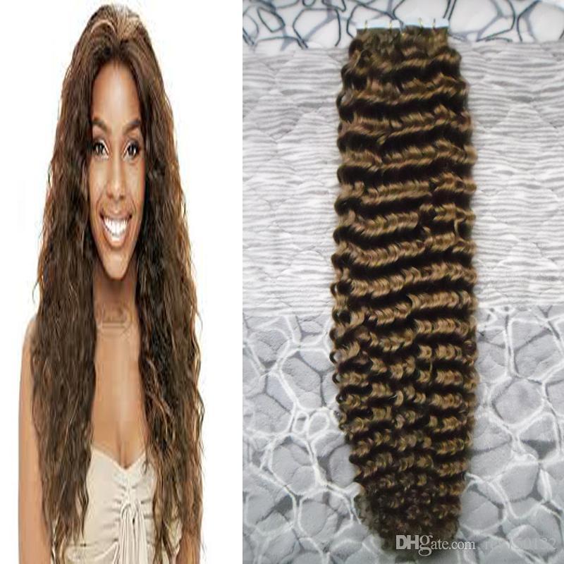 Brazilian Human Tape in kinky curly Skin Weft 100% Human Hair Tape In Hair Extensions #4 Dark Brown tape in human hair extensions 100g 40pcs