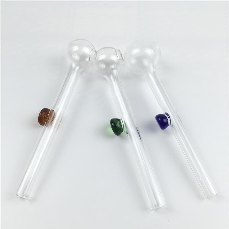 tubo del bruciatore a nafta in vetro pyrex tubo in vetro spesso 10 cm mini tubi a mano economici colorati per il fumo di tubi ad acqua del bruciatore a nafta viola