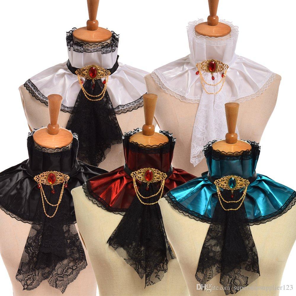 1pc Retro Unisex Renaissance Vampire Style Neck Ruff Steampunk Lady Gentleman Jabot Goth Victorian Detachable Collar Cosplay Accessory