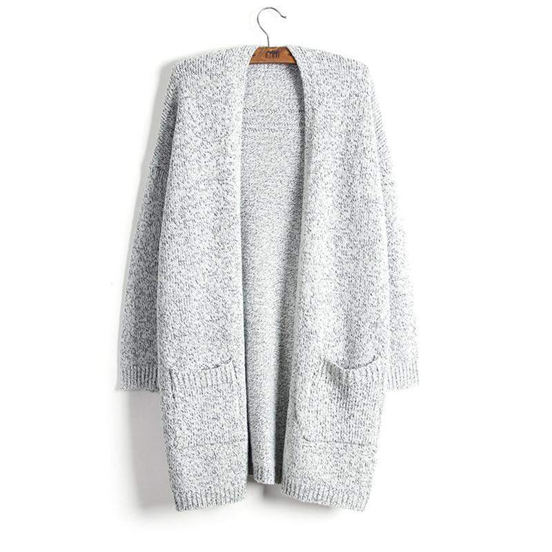 سترة النساء معطف أزياء الخريف الشتاء سميكة الدفء سترة جديد سيدة سترة رمادية نمط طويل حك الصلبة مع جيب المتضخم 5xl
