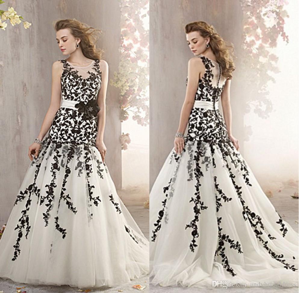 Großhandel Meerjungfrau Ärmellos Schwarz Und Weiß Hochzeitskleid Bedeckt  Knöpfe Spitze Applizierte Scoop Ausschnitt Brautkleid Brautkleider Von