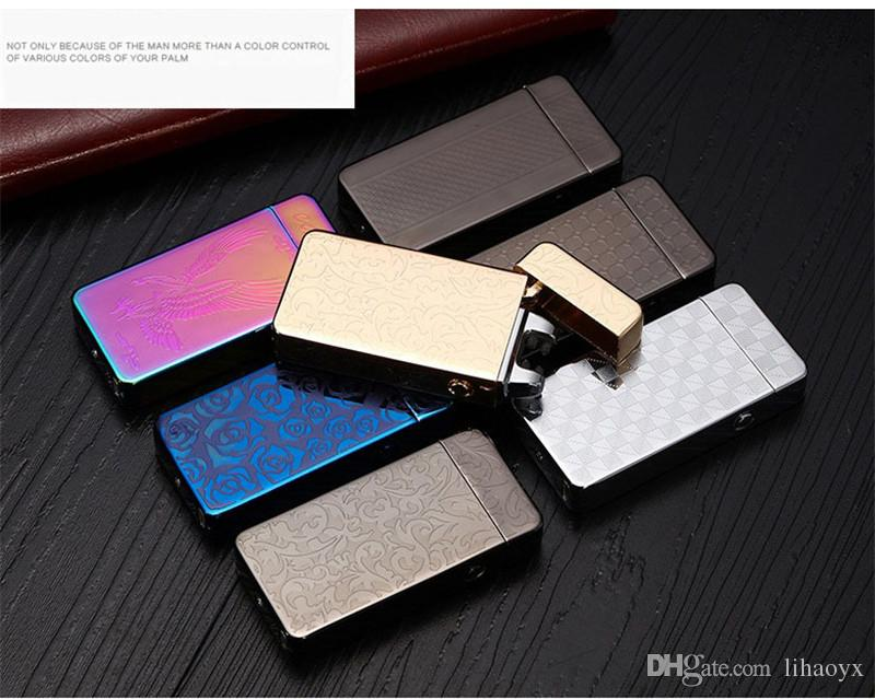 USB charge Dual Arc Lighter windproof personality Electric Cigarette Lighter Novelty Metal Flameless Torch Rechargeable 15 color b808