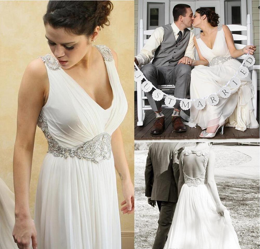 2016 Jenny Packham White Vintage Wedding Dresses Beach Sheer V Neck ...