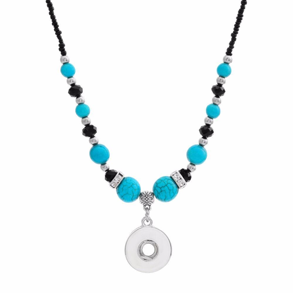 Nova Beleza Estilo Nacional Turquoises Beads Snap Colar 55 cm Fit Diy 12mm 18mm Snap Botões Presente de Natal Por Atacado