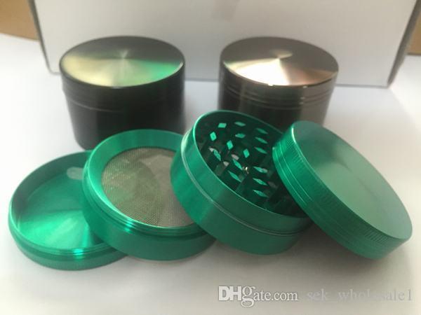Colorful Herb Grinder smoking grinder 50mm size CNC grinder metal cnc teeth tobacco grinder 50mm 4 parts mix Color design herb Grinders