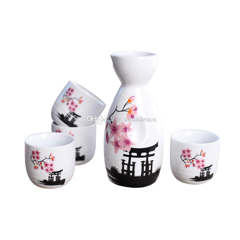Set di sake giapponese dipinto a mano tempio Kiyomizu e Cherry Blossom in ceramica bottiglia di vino tazze elegante sake drinkware regali orientali