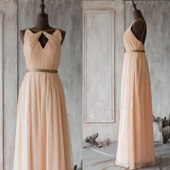 Backless Bridesmaid Dress Long Evening Dresses Chiffon A Line Prom ...