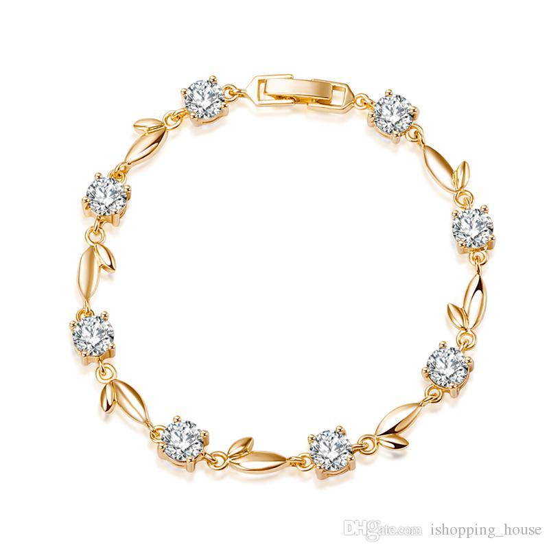 Charming Frauen Armband 18 Karat Gelbgold Überzogene CZ Blatt Armband Kette für Mädchen Frauen für Hochzeit SL0068