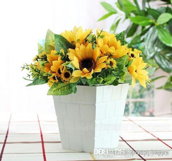 سبعة عباد الشمس الصغيرة حزمة صغيرة من عالية الجودة عباد الشمس عباد الشمس محاكاة رايون زهرة باقة الزفاف باقات من الزهور تزين