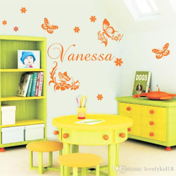 Custome Made Name Wall Stickers Personalised Butterfly Animal Wall ...
