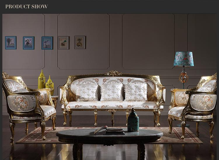 French Classic sofa set - Baroque Style classic living room set -European high end gold leaf gilding furniture