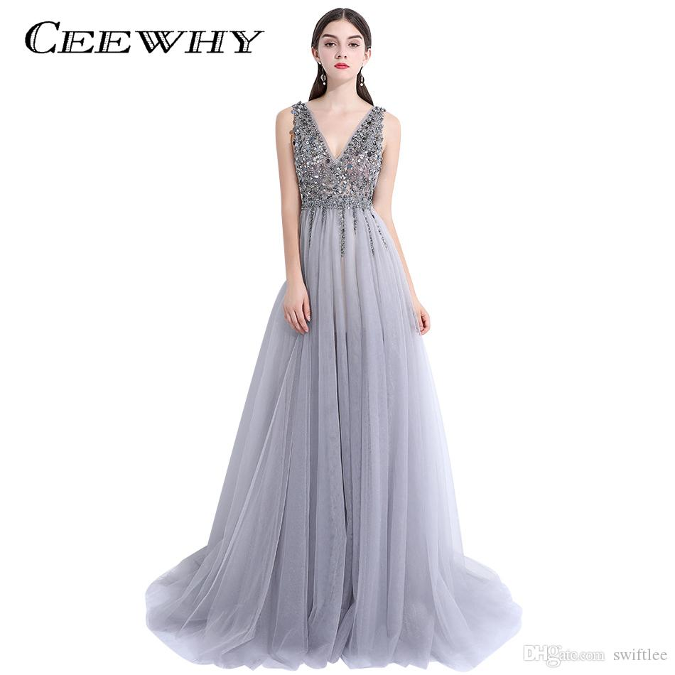 CEEWHY V Opening Back Evening Party Dress Formal Gown Evening Dresses With  Crystals Beading Banquet Prom Dress Abendkleider Plus Size Black Evening
