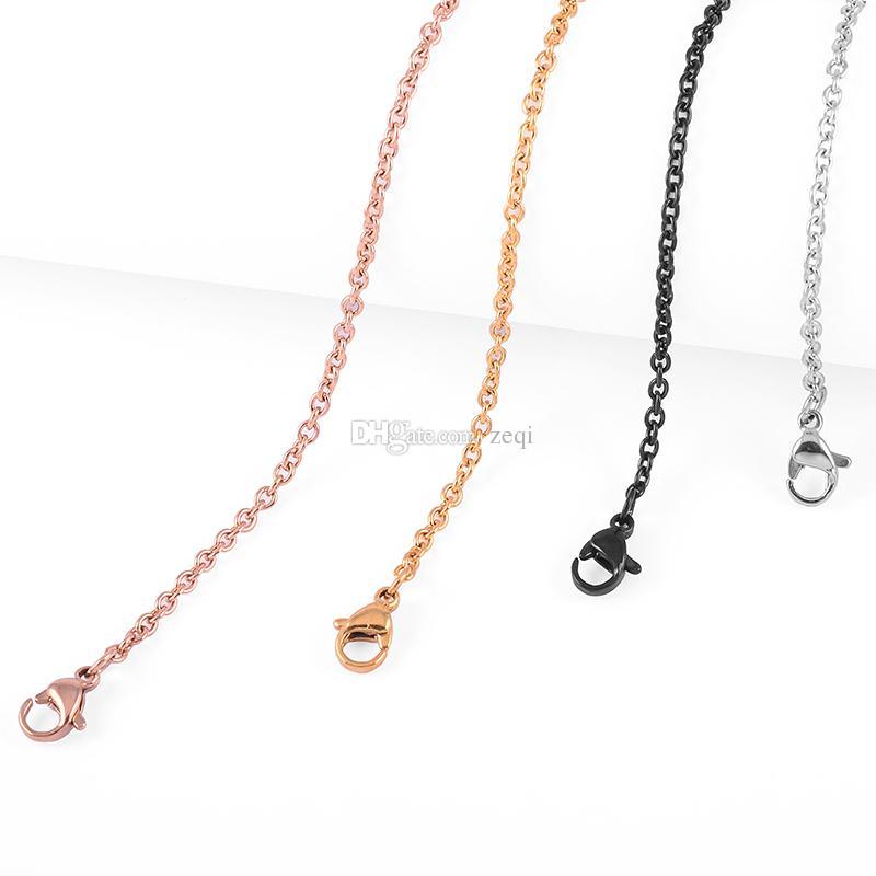 4 verschiedene Farben Anhänger Halskette Ketten Silber / Gold / Rose Gold / Schwarz Halsketten Gliederkette für Frauen Mann