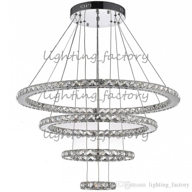Круглое кольцо светодиодные хрустальные подвески светло-потолочные люстры освещение светильники для прихожей отеля с 120 Вт AC100 до 240V CE FCC ROHS