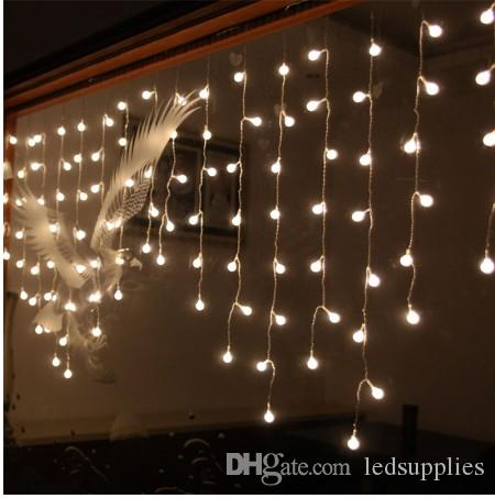 Multi-color 3.5M 100SMD Cherry Ball Curtain String Lights Lampade Led Giardino Xmas Festa di nozze Decorazione di Windows AC110V-220V