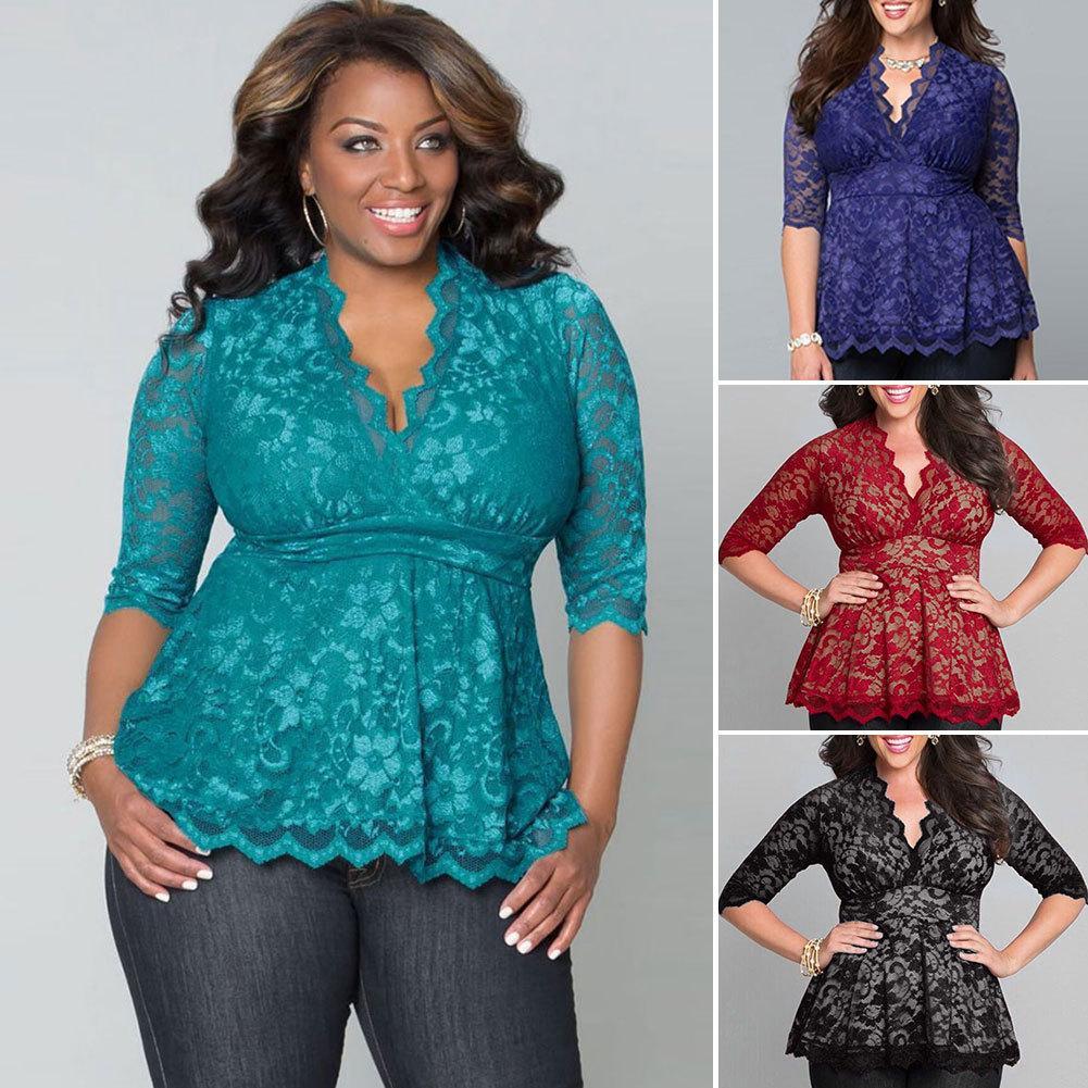 섹시한 V 넥 중공 LOUT 레이스 여자의 블라우스 2016 새로운 패션 플러스 사이즈 XXXL 4XL 하프 슬리브 여성 여성 레이스 셔츠