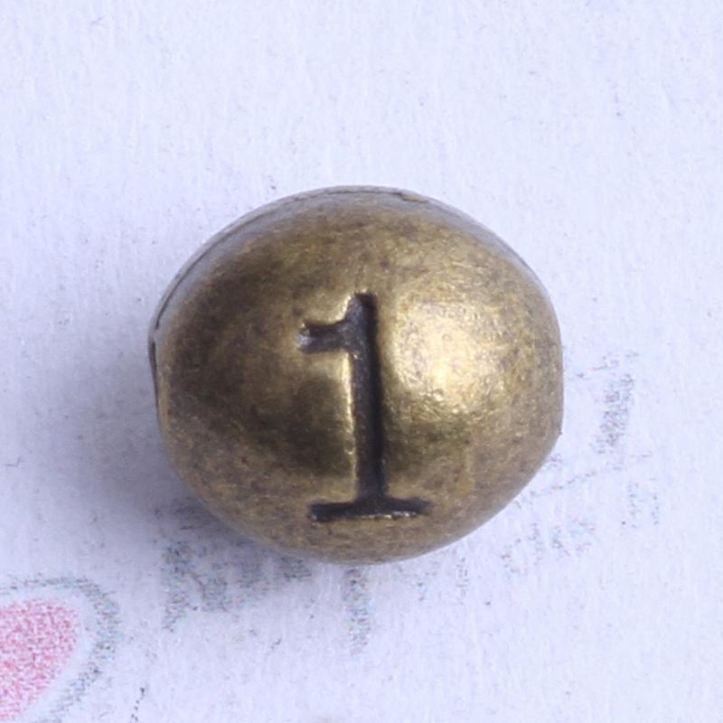 Numéro 1 perles ovales charme antique argent / bronze en alliage de zinc pour pendentif bricolage fabrication de bijoux accessoires 100pcs 2438