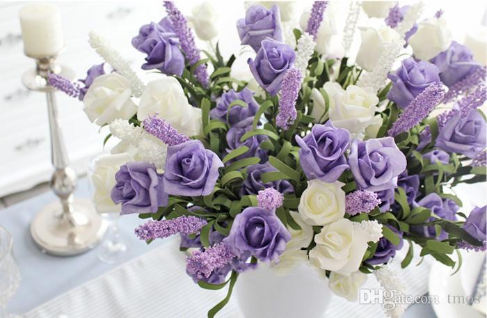 Compre Flores Artificiales Peonía Abalorio Lavanda Rosa Nupcial 9 Cabezas Ramo De Rosas Arreglo Floral De Fiesta 2016 Nueva Llegada A 081 Del Tmos