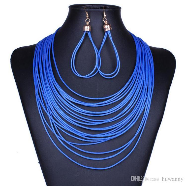 Monili di cuoio PU regolano Earrings caldi di vendita e collane Set per gioielli di moda regalo delle donne della ragazza di partito commercio all'ingrosso libero di trasporto 0413WH