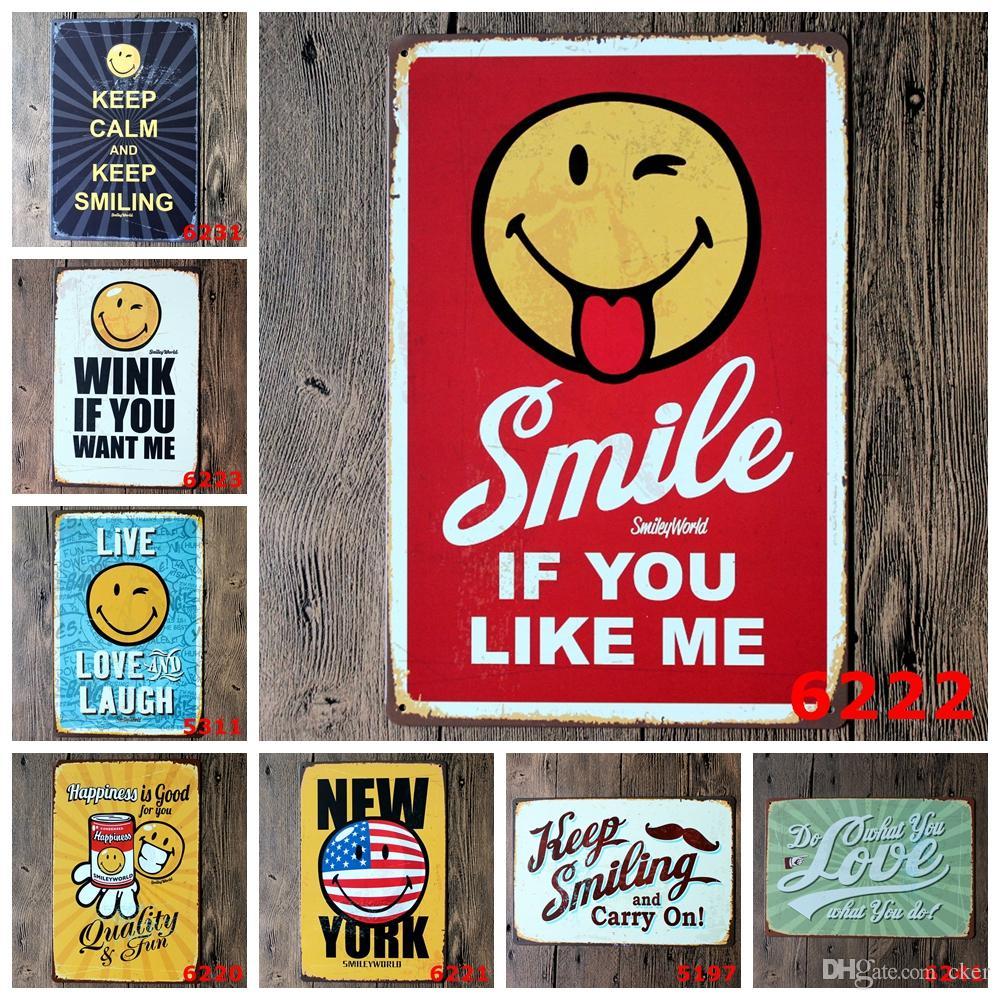 2016 20 * 30 cm sonrisa si me gusta guiño risa cartel Cartel de chapa Cafetería Bar Restaurante Arte de la pared decoración Bar Pinturas Metálicas