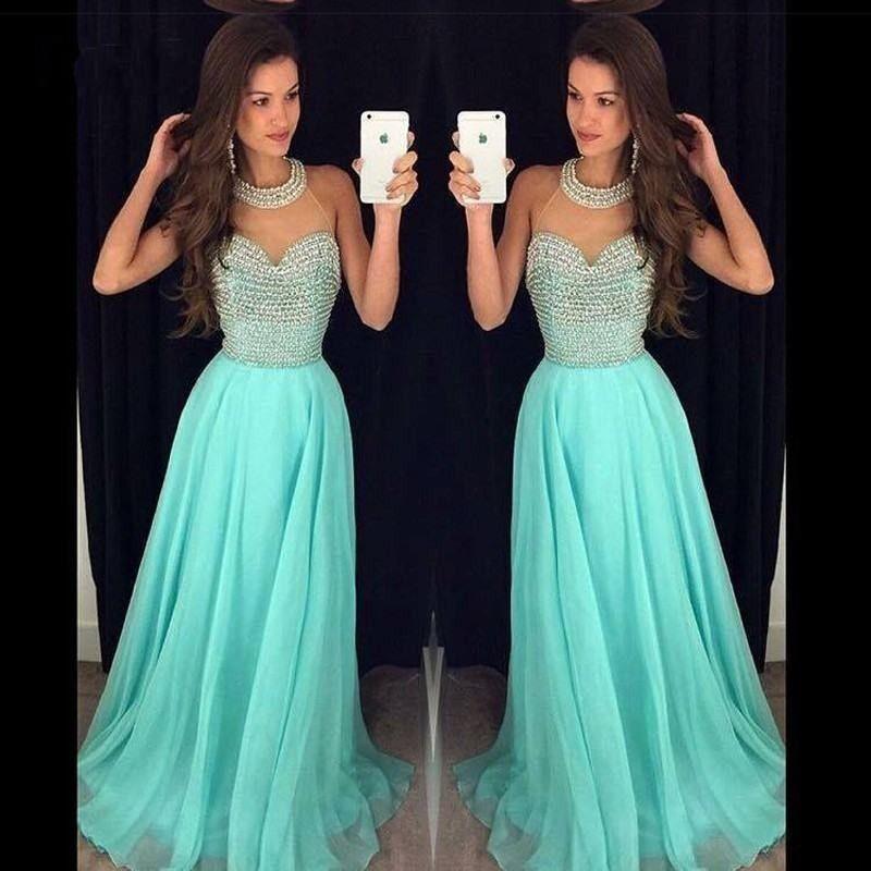Compre Aqua Green Vestido De Fiesta Palabra De Longitud Gasa Con Cuentas Larga Mujeres Usar Vestido Para Ocasiones Especiales Vestido De Fiesta Por La