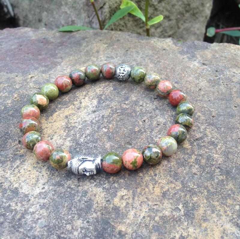 SN0398 натуральный камень Браслет из бисера мужчины Unakite Будда браслет Счастливый камень ювелирные изделия подарок для женщин Оптовая