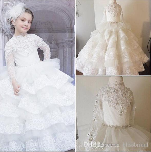 2016 Luxurious Lace Crystals Tiers Ball Gown Flower Girl Dresses Vintage Child Pageant Dresses Beautiful Flower Girl Wedding Dresses