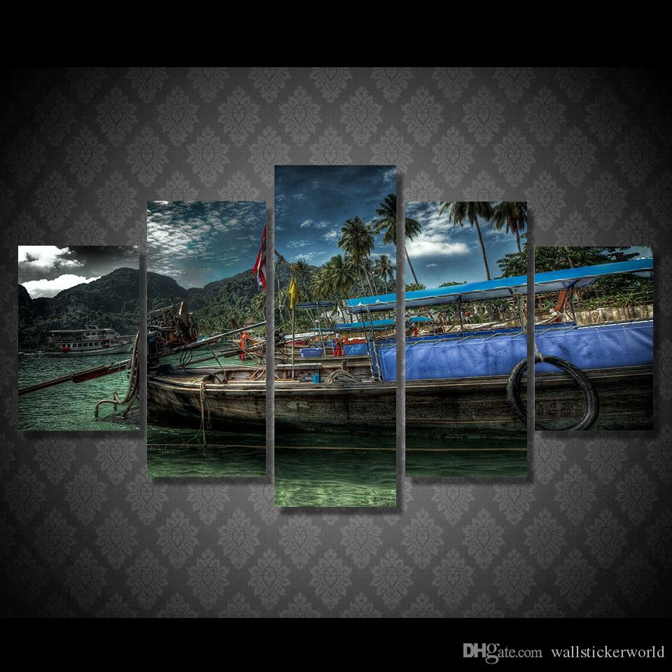 5 Pcs/Set Framed Printed Beach Fishing Boat Painting Canvas Print room decor print poster picture canvas Free shipping/ny-4516