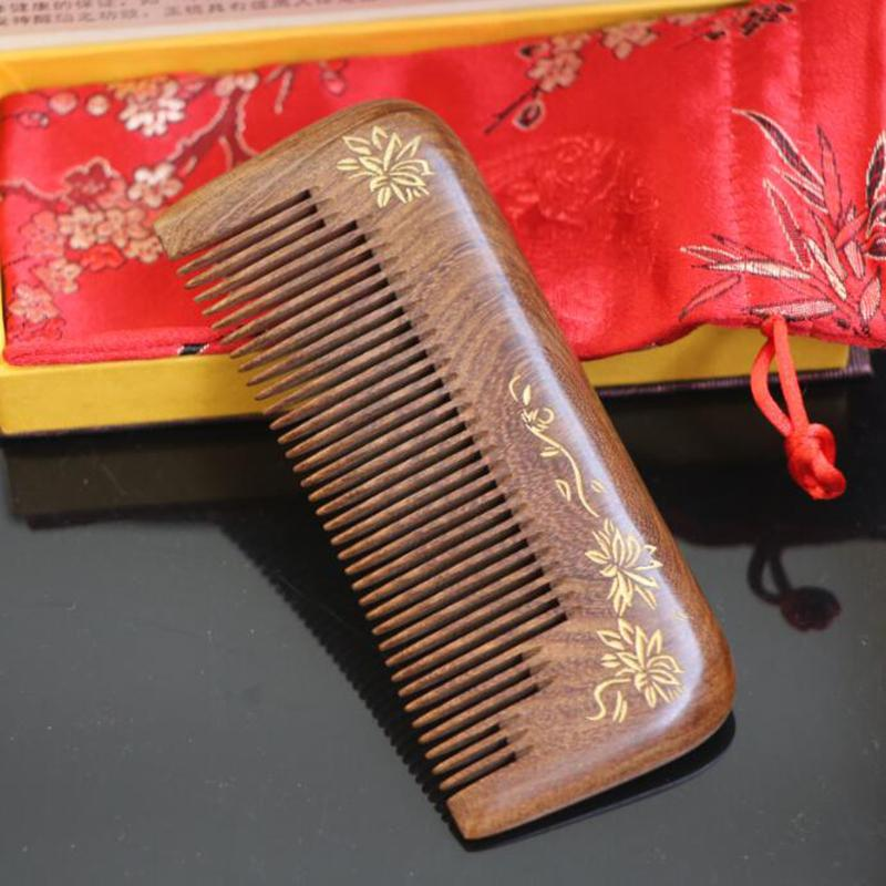 Top quality hand made natural ebony hair comb wooden hair comb wooden hair comb 13-7