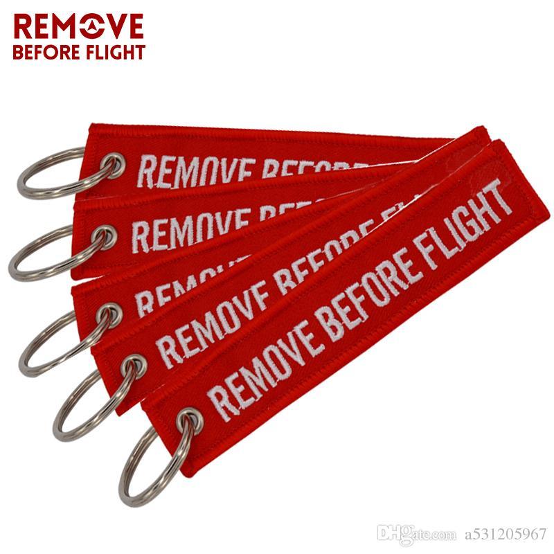 Rimuovi prima del volo Chaveiro Portachiavi per auto Red Key Fobs Portachiavi OEM Gioielli Aviation Tag Ricamo Portachiavi 5 PCS / LOT