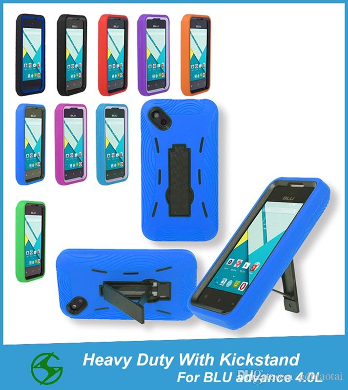 Shockproof Super Combo Heavy Duty Fully Protective Case With Kickstand For BLU Advance 4.0L/A010U